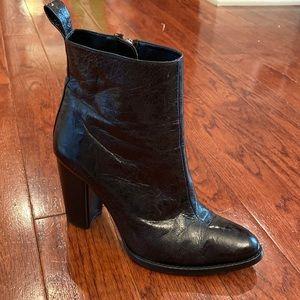 ZARA | Black leather combat moto ankle heel boot 37/ US 6.5